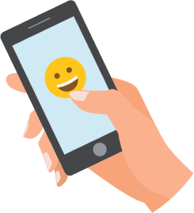 hand that holds a smartphone with a happy smiley