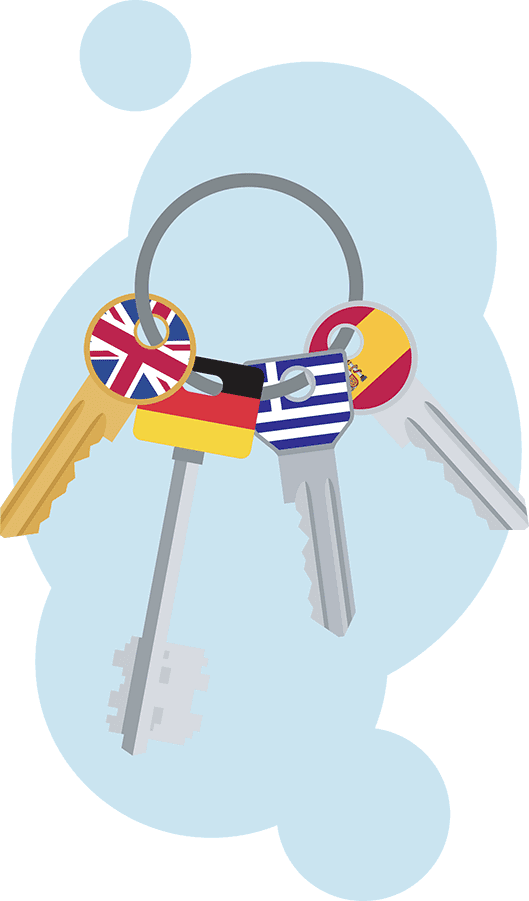 A bunch of keys with flags of different countries on it. Simbolizing multilingual keywords